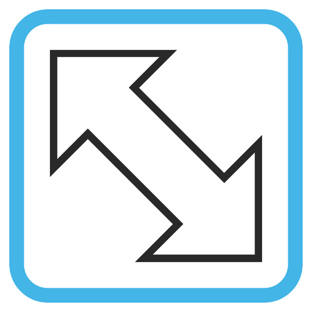 parallels: Exchange Diagonal blue and gray vector icon. Image style is a flat pictograph symbol inside a rounded square frame on a white background.