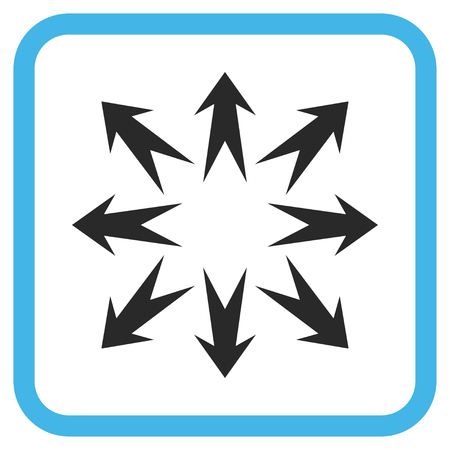 Expand Arrows blue and gray vector icon. Image style is a flat icon symbol inside a rounded square frame on a white background.