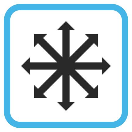 Expanda el icono de vector azul y gris de flechas. El estilo de la imagen es un símbolo de icono plano en un marco cuadrado redondeado sobre un fondo blanco.