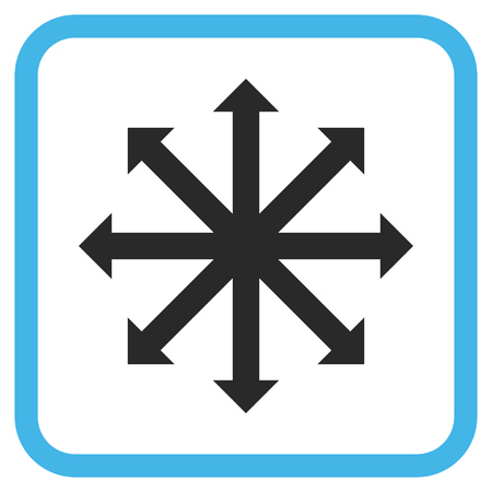 Expand Arrows blue and gray vector icon. Image style is a flat icon symbol in a rounded square frame on a white background.