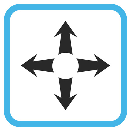 Expand Arrows blue and gray vector icon. Image style is a flat iconic symbol in a rounded square frame on a white background. Illustration