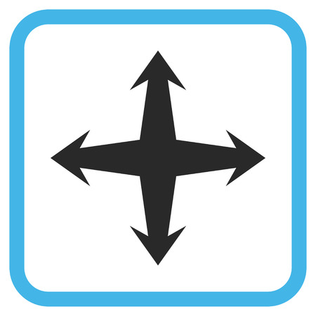 Expand blue and gray vector icon. Image style is a flat pictograph symbol inside a rounded square frame on a white background. Illustration