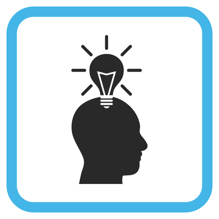gray bulb: Genius Bulb blue and gray vector icon. Image style is a flat iconic symbol in a rounded square frame on a white background. Illustration