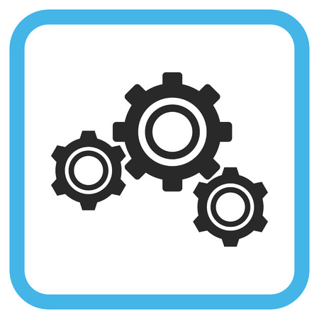 Gears blue and gray vector icon. Image style is a flat pictograph symbol inside a rounded square frame on a white background.