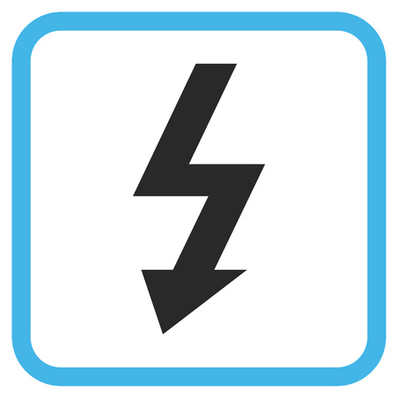 high voltage symbol: High Voltage blue and gray vector icon. Image style is a flat pictogram symbol in a rounded square frame on a white background.