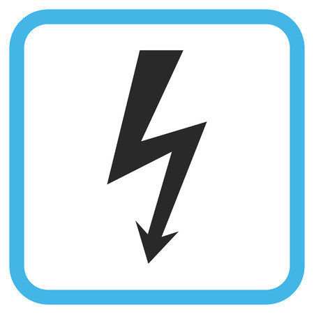 voltage symbol: High Voltage blue and gray vector icon. Image style is a flat pictograph symbol inside a rounded square frame on a white background.