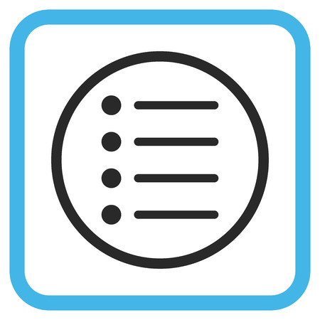 item list: Items blue and gray vector icon. Image style is a flat iconic symbol inside a rounded square frame on a white background.
