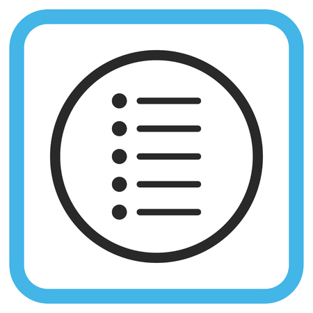 item list: Items blue and gray vector icon. Image style is a flat pictogram symbol inside a rounded square frame on a white background.