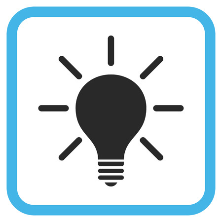 gray bulb: Light Bulb blue and gray vector icon. Image style is a flat icon symbol in a rounded square frame on a white background. Illustration