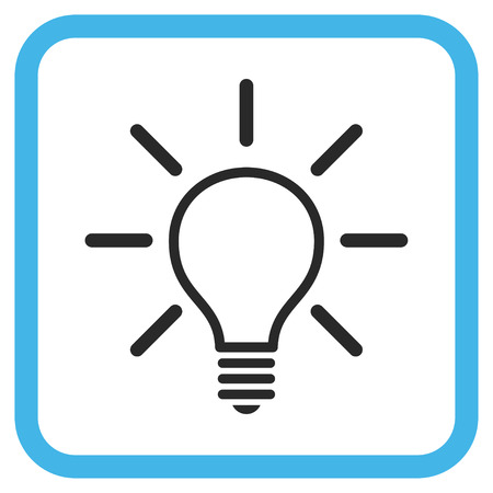 light emission: Light Bulb blue and gray vector icon. Image style is a flat iconic symbol inside a rounded square frame on a white background.