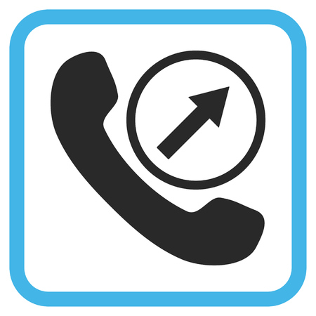 outgoing: Outgoing Call blue and gray vector icon. Image style is a flat iconic symbol inside a rounded square frame on a white background. Illustration