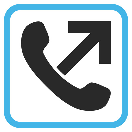 outgoing: Outgoing Call blue and gray vector icon. Image style is a flat pictogram symbol inside a rounded square frame on a white background.