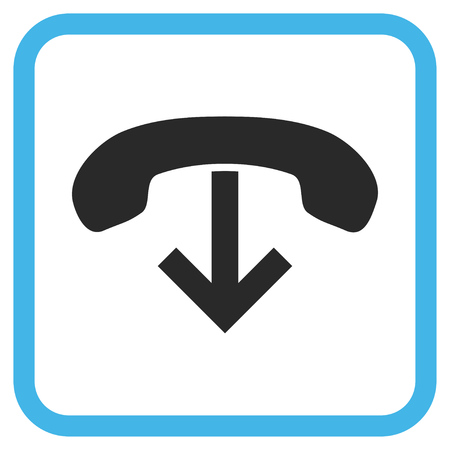 hang up: Phone Hang Up blue and gray vector icon. Image style is a flat pictograph symbol in a rounded square frame on a white background.