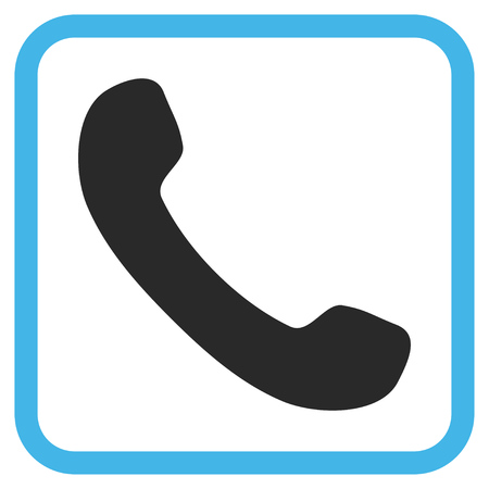phone receiver: Phone Receiver blue and gray vector icon. Image style is a flat icon symbol inside a rounded square frame on a white background. Illustration
