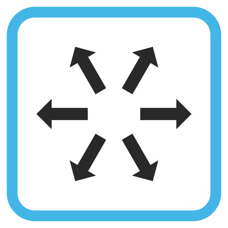 Radial Arrows blue and gray vector icon. Image style is a flat pictograph symbol inside a rounded square frame on a white background. Illustration