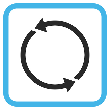 discard: Recycle blue and gray vector icon. Image style is a flat pictogram symbol in a rounded square frame on a white background.