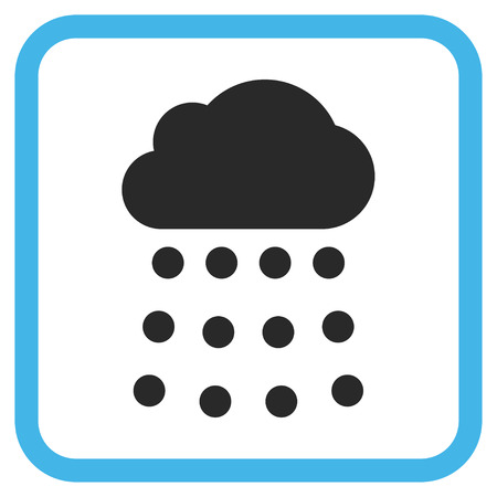 watery: Rain Cloud blue and gray vector icon. Image style is a flat pictograph symbol inside a rounded square frame on a white background.