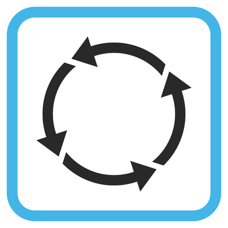 Recycle blue and gray vector icon. Image style is a flat iconic symbol inside a rounded square frame on a white background.