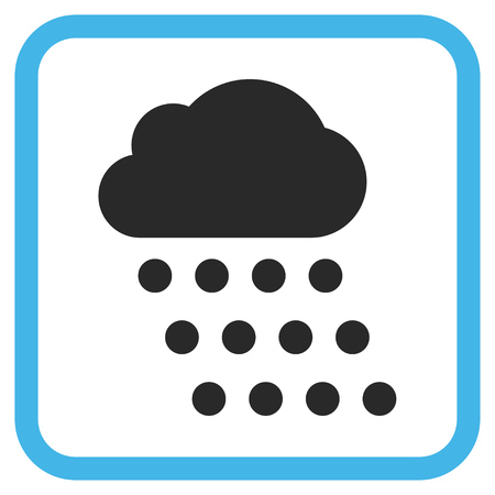 watery: Rain Cloud blue and gray vector icon. Image style is a flat iconic symbol inside a rounded square frame on a white background.