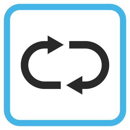 Recycle blue and gray vector icon. Image style is a flat icon symbol inside a rounded square frame on a white background.
