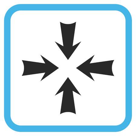 Reduce Arrows blue and gray vector icon. Image style is a flat pictogram symbol inside a rounded square frame on a white background.