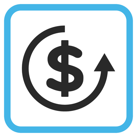 moneyback: Refund blue and gray vector icon. Image style is a flat pictogram symbol in a rounded square frame on a white background.