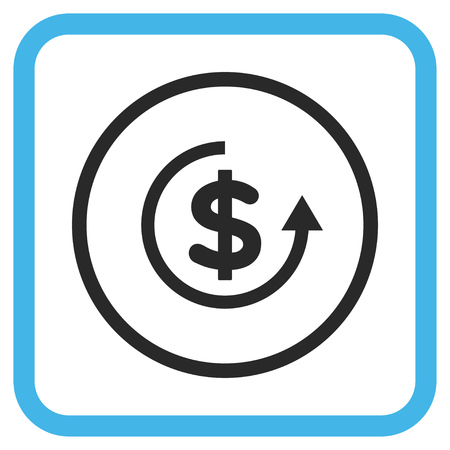 moneyback: Refund blue and gray vector icon. Image style is a flat pictograph symbol inside a rounded square frame on a white background.