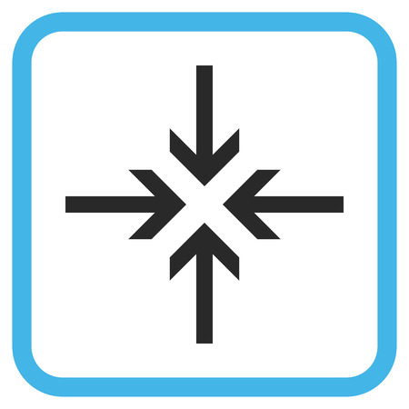 compress: Reduce Arrows blue and gray vector icon. Image style is a flat iconic symbol inside a rounded square frame on a white background.