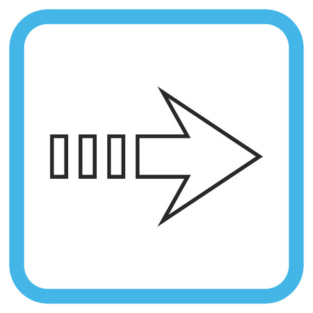 redirect: Send Right blue and gray vector icon. Image style is a flat pictogram symbol inside a rounded square frame on a white background.