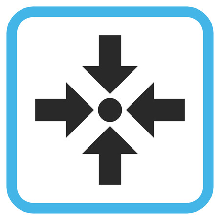 shrink: Shrink Arrows blue and gray vector icon. Image style is a flat iconic symbol inside a rounded square frame on a white background.