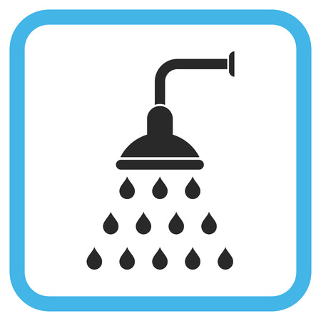 sanitize: Shower blue and gray vector icon. Image style is a flat pictograph symbol inside a rounded square frame on a white background. Illustration