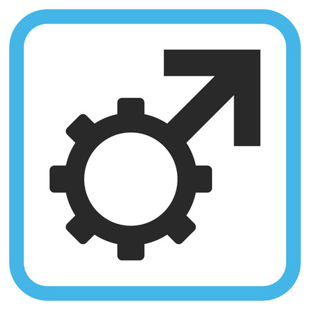 erection: Technological Potence blue and gray vector icon. Image style is a flat pictograph symbol in a rounded square frame on a white background.