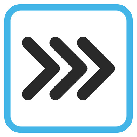 triple: Triple Arrowhead Right blue and gray vector icon. Image style is a flat pictograph symbol in a rounded square frame on a white background. Illustration