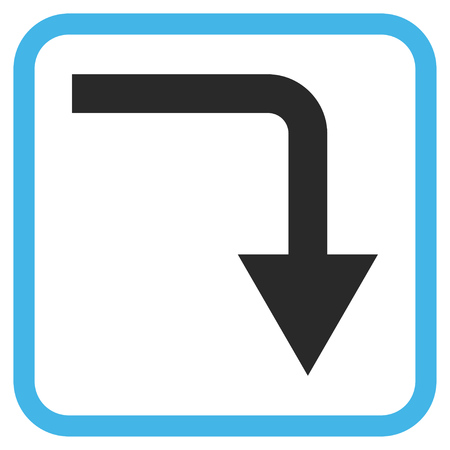 turn down: Turn Down blue and gray vector icon. Image style is a flat iconic symbol inside a rounded square frame on a white background.