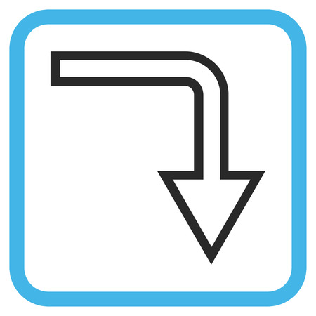 turn down: Turn Down blue and gray vector icon. Image style is a flat pictogram symbol inside a rounded square frame on a white background. Illustration