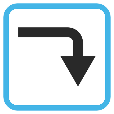 turn down: Turn Down blue and gray vector icon. Image style is a flat icon symbol in a rounded square frame on a white background.