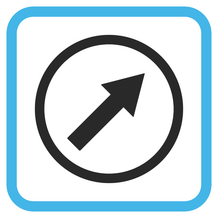 upright: Up-Right Rounded Arrow blue and gray vector icon. Image style is a flat pictograph symbol inside a rounded square frame on a white background. Illustration