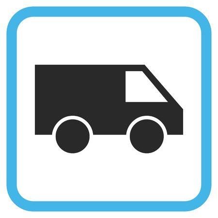 square shape: Van blue and gray vector icon. Image style is a flat icon symbol in a rounded square frame on a white background.