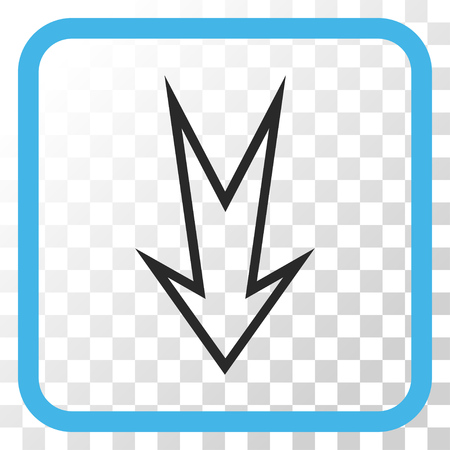 Arrow Down blue and gray vector icon. Image style is a flat iconic symbol inside a rounded square frame on a transparent background. Illustration