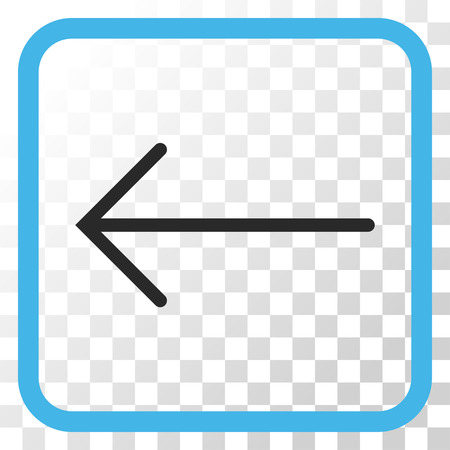 frame less: Arrow Left blue and gray vector icon. Image style is a flat pictograph symbol in a rounded square frame on a transparent background.
