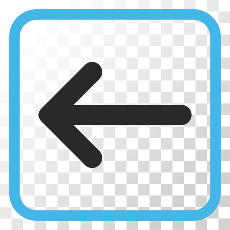 Arrow Left blue and gray vector icon. Image style is a flat pictogram symbol inside a rounded square frame on a transparent background.