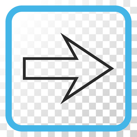 redirect: Arrow Right blue and gray vector icon. Image style is a flat pictograph symbol inside a rounded square frame on a transparent background. Illustration