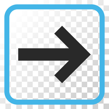 redirect: Arrow Right blue and gray vector icon. Image style is a flat iconic symbol inside a rounded square frame on a transparent background.
