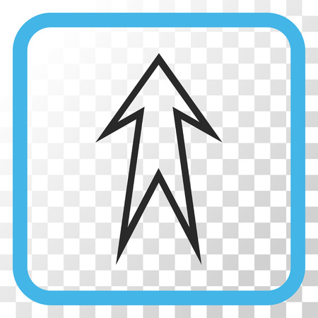 Arrow Up blue and gray vector icon. Image style is a flat pictograph symbol inside a rounded square frame on a transparent background. Illustration
