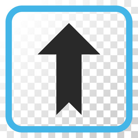 move: Arrow Up blue and gray vector icon. Image style is a flat iconic symbol inside a rounded square frame on a transparent background. Illustration