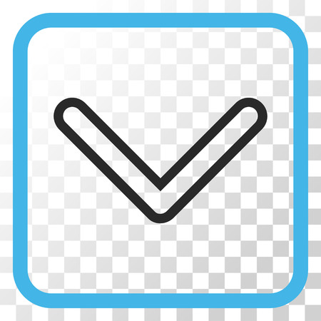 Arrowhead Down blue and gray vector icon. Image style is a flat pictogram symbol inside a rounded square frame on a transparent background. Ilustrace