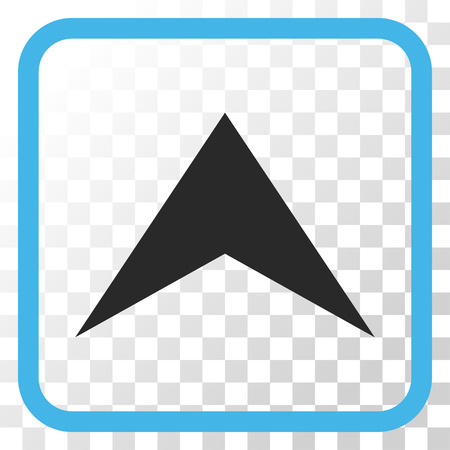 arrowhead: Arrowhead Up blue and gray vector icon. Image style is a flat pictogram symbol inside a rounded square frame on a transparent background. Illustration