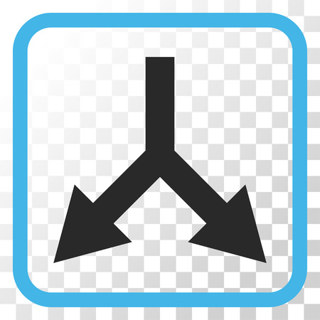 bifurcation: Bifurcation Arrow Down blue and gray vector icon. Image style is a flat pictogram symbol inside a rounded square frame on a transparent background.