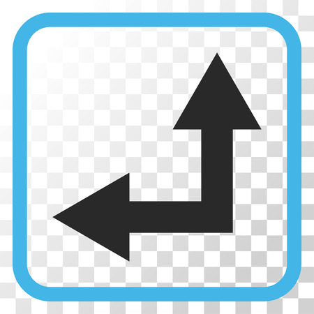 bifurcation: Bifurcation Arrow Left Up blue and gray vector icon. Image style is a flat icon symbol inside a rounded square frame on a transparent background.