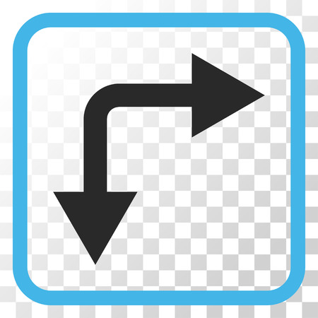 bifurcation: Bifurcation Arrow Right Down blue and gray vector icon. Image style is a flat iconic symbol inside a rounded square frame on a transparent background. Illustration